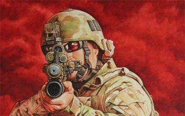 水彩里的战术世界——持械瞄准的士兵